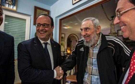 Presidente François Hollande visita a Fidel Castro