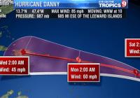 Danny a categoría 3 con vientos de 185 kilómetros por hora