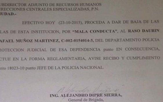 RISIBLE; La Policía cancela raso por «Mala conducta»