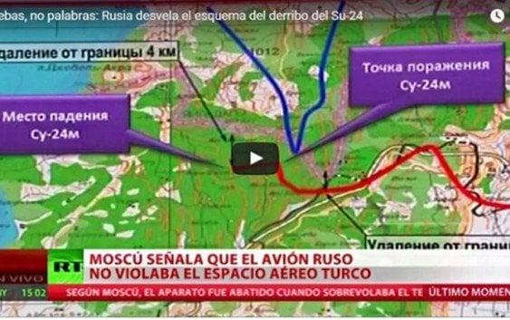 Ministerio Defensa ruso desvela esquema derribo del Su-24 (vídeo)
