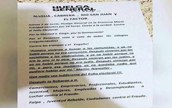 Convocan a paro hoy en Nagua, Cabrera, El Factor y Río San Juan