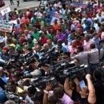 Chóferes protestan en Industria y Comercio por el subsidio