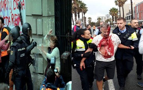 Cataluña: Policías DELINCUENTES rompen, estrellan a las mujeres y hieren a electores referéndum; 400 heridos; Vídeos