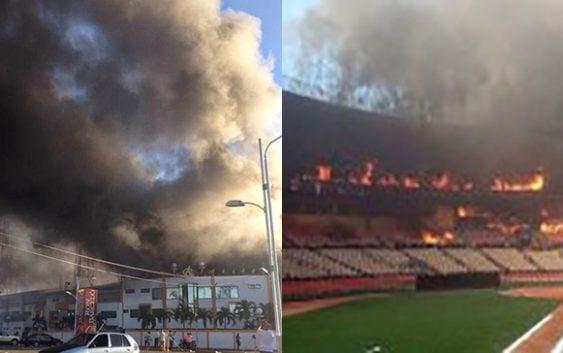 Incendio consume estadio Quisqueya en estos momentos; cinco unidades bomberos trabajan; Vídeo