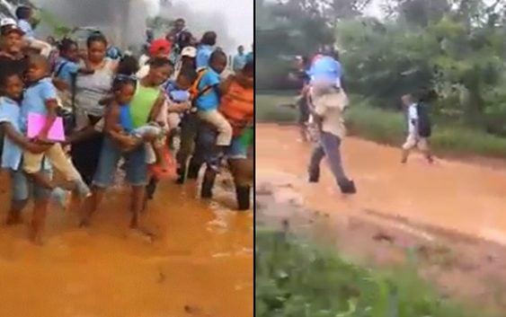 Se toman riesgosa vicisitudes en trayecto a la escuela en Los Guineos de Monte Plata; Vídeo