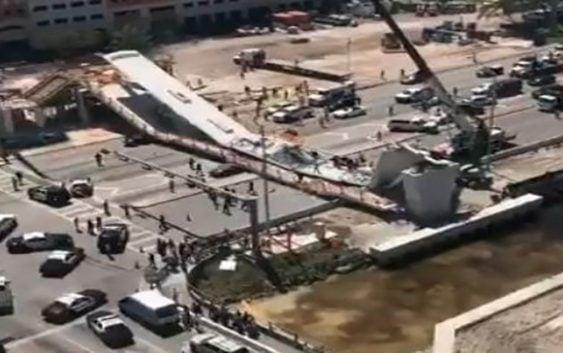 Varios muertos tras caer sobre vehículos puente peatonal en construcción en Miami