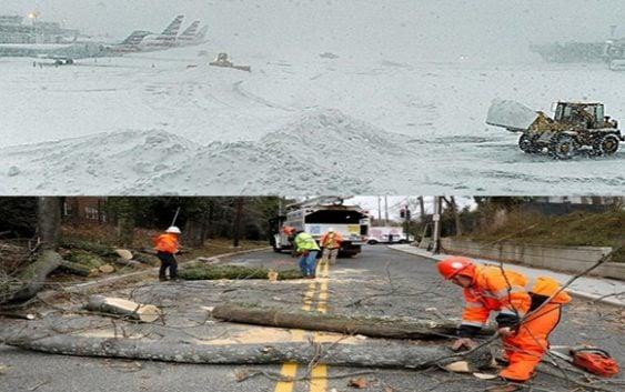 Tormenta deja 6 muertos, 2,800 vuelos cancelados, miles sin energía e inundaciones