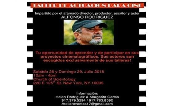 Alfonso Rodríguez impartirá taller de actuación para cine en Nueva York