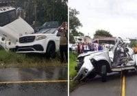 Don Miguelo intenta auxiliar en accidente murió una persona y camión impacta su vehículo