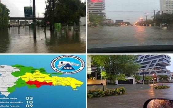 Tras 16 horas de lluvia la capital se volvió intransitable, Onamet informa continuarán; Vídeo