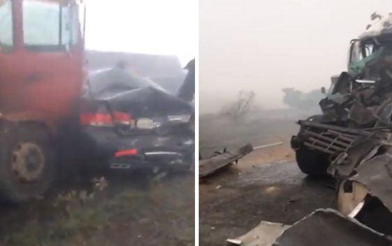 Encienden paja de arroz provocando multiple accidente en autopista Duarte – SFM; Vídeo