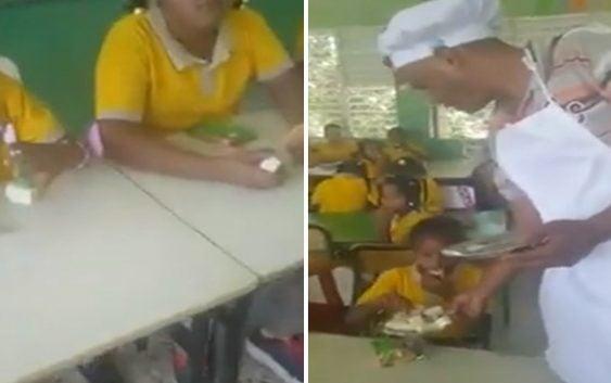 Denuncia suplidor les lleva de almuerzo queso con galletita cuando se le acaba la comida; Vídeo