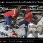 Atracador sorprendido por empleado de Coca Cola, le dieron «hasta con el cubo del agua»; Vídeo