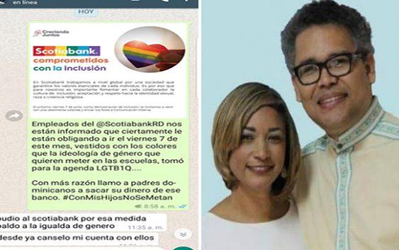 """Llama a dominicanos a retirar sus ahorros del Scotiabank por promover """"Degeneración del Género"""""""