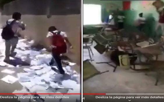 Vandalismo: Estudiantes despiden año escolar rompiendo cuadernos y pupitres; Vídeos