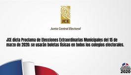 JCE llama a elecciones municipales para el 15 de marzo próximo