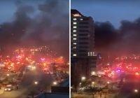 Incendio frente al hospital Lebanon en El Bronx, Nueva York, Estados Unidos; Vídeos