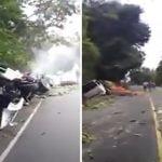 Camión que provocó triple accidente con dos iguales les fallaron los frenos; Vídeo
