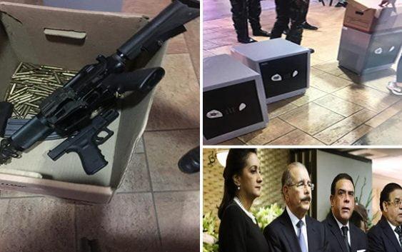 Incautan cajas fuertes, armas y municiones en casa Alexis Medina hermano de Danilo Medina