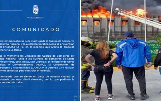 Alcaldesa Carolina Mejía se mantuvo desde temprano en lugar del incendio apoyando bomberos; Vídeos