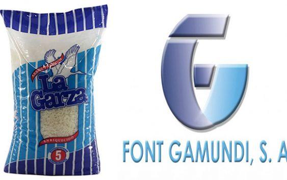 Ecológica: Font Gamundi con empaque biodegradable para el Arroz Prémium La Garza de 10 libras