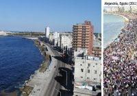 Imagen no es el malecón de La Habana es una movilización en Alejandría, Egipto; Vídeo